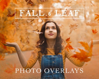 70 Natural Falling Autumn Leaves Photo Overlays for Photoshop and Mobile - Creative Editing Tools for Photographers