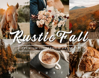 Rustic Fall Lightroom Presets Pack for Desktop & Mobile, Moody Warm Tones, Outdoor Lifestyle Portraits - Premium Photography Editing Tools