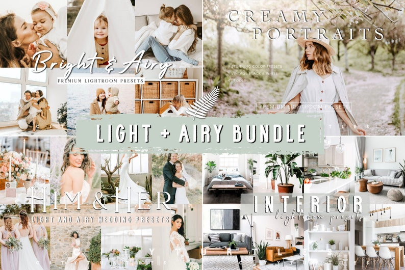 LIGHT  AIRY BUNDLE  Natural Clean Bright Lightroom Presets image 0