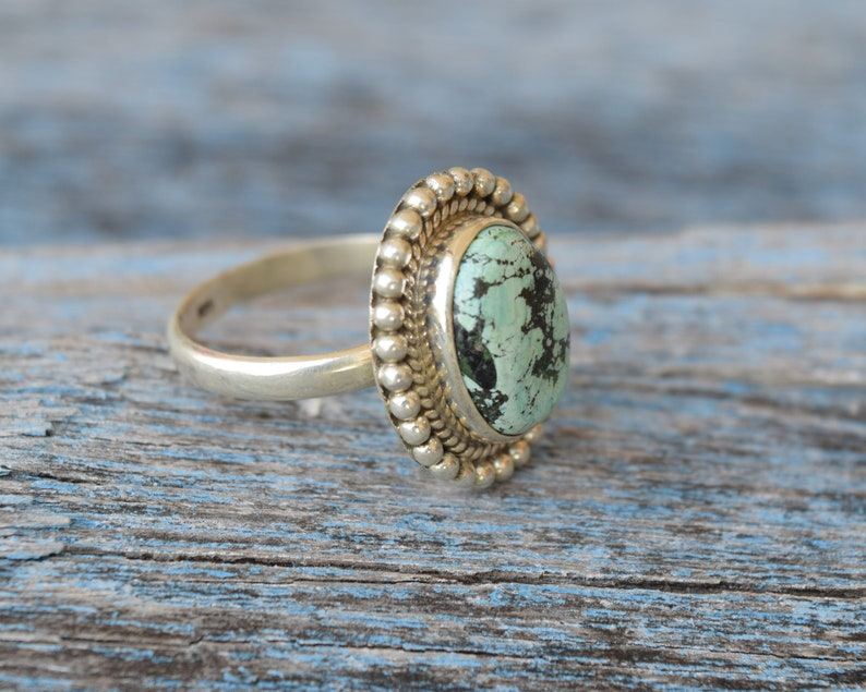 Natural Turquoise Cabochon Gemstone Gift Ring Beautiful Ring Sterling Silver Stackable Statement Ring Desert Sky Turquoise Ring