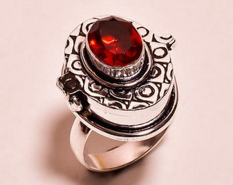 Gorgeous .925 SS 10.5mm x 8.5mm Oval Garnet Poison Ring~Size 7.25