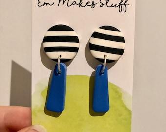 Stripe and cerulean blue dangle earrings