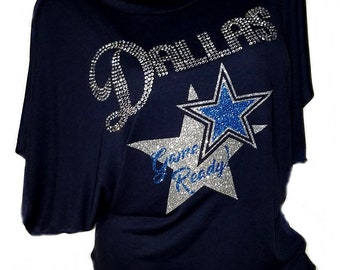 25a6107b63a Dallas Game Ready!!! Navy Flowy Draped Sleeve Dolman Tee with Dallas in  crystal   Star Lettering Shiny glitter lettering.