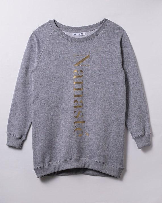 Damen Pullover, Fairwear Pullover, für Frauen, Motiv Namaste gold, nachhaltig hergestellt