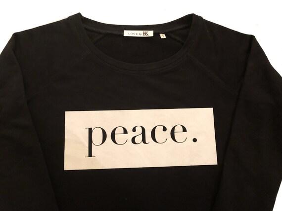 Damen Pullover, Fairwear Pullover Flexdruck, für Frauen, Motiv Peace, nachhaltig hergestellt, Fairwear Pullover