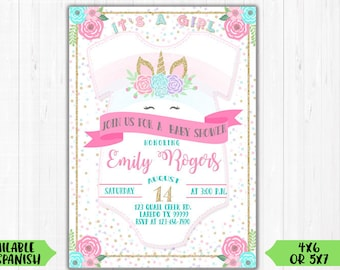 Unicorn Baby Shower Invitation / Digital File / Printable / Birthday / Invite