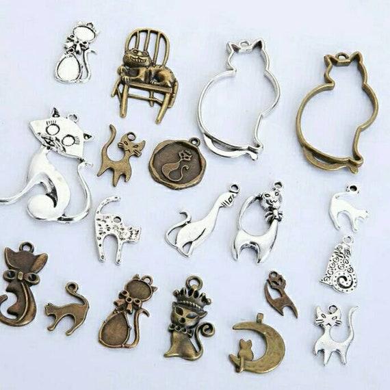 New 50 Pcs mix Cartoon cat  Metal Charm Pendants DIY Jewelry Making