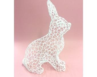 White Rabbit, Rabbit, PLA 3D Rabbit, 3D Pen, Sculpture, Rabbit Print, Sculptural, Rabbit Sculpture, Art & Collectibles, Alice in Wonderland
