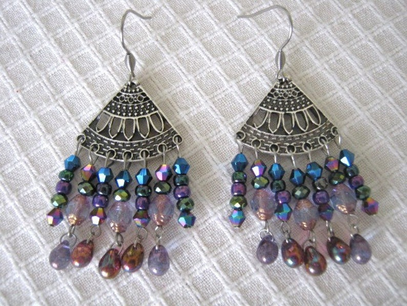 Handmade ethnic boho tringular chandelier earrings,antique silver dangle earrings,Czech glass beads jewelry,Stainless steel earhooks 02