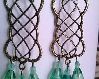 Handmade boho chandelier earrings,ladies net style loop bronze pendant earrings,Czech glass green light blue drop beads,bronze earhooks (15)