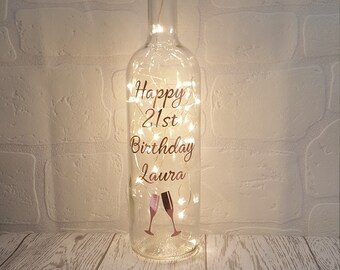 Personalised Birthday Gift For Her Mums Gifts Light Up Bottle Best Friend 18th 21st 30th 40th 50th 60th 70th 80th