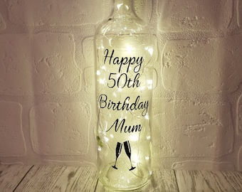 50th Birthday Gift Personalised For Her Gifts Him Mums Dads Light Up Bottle Best Friend