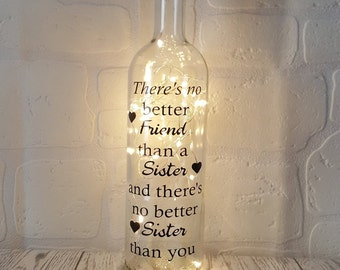 No Better Friend Than A Sister Home Decor Bottle Light Inspirational Quote Gift For Her Personalised Birthday Best