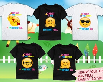 Emoji Iron On Transfer Birthday Shirt DIY Family Bundle Purchase Instant Download Digital Files