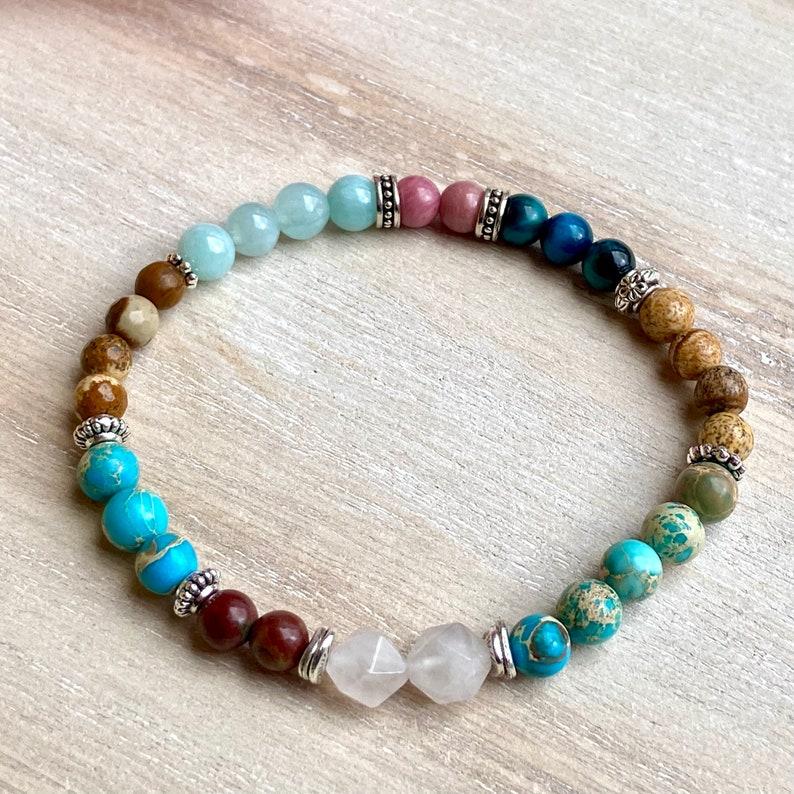 Natural stone bracelet rhodonite jasper agate sea sediment rose quartz tiger eye