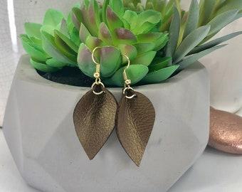 Metallic Faux Leather Petal Earrings