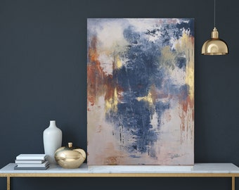 Handmade Original Acrylic Painting with Golden Details