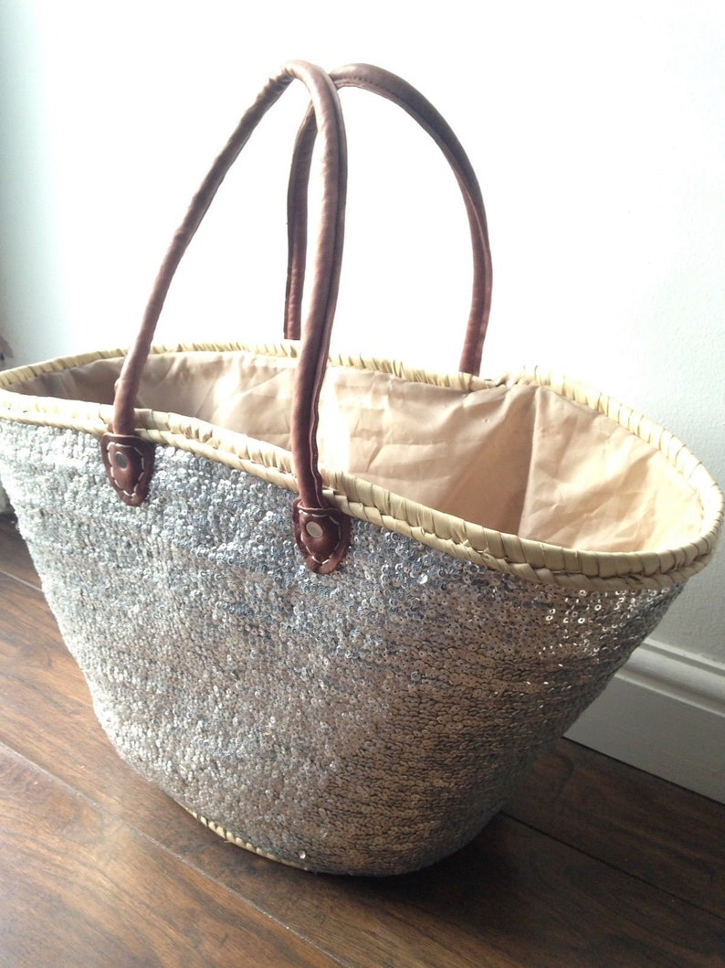 Moroccan Silver Sequins Basket French Market Beach Bag