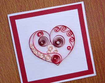 Heart quilled greeting card