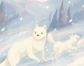 "Through the Snow Art Print, Arctic Fox Print, Wildlife Illustration, Nature, Winter, Nursery Animal Art, Home Decor, 6x6"", 8x8"""