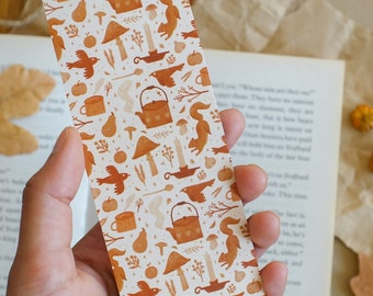 Autumn Hygge Bookmark, Illustrated Bookmark, Cottagecore, Cottage, Cosy, Hygge, Wildlife, Cabin, Fall, Halloween, Small Gift