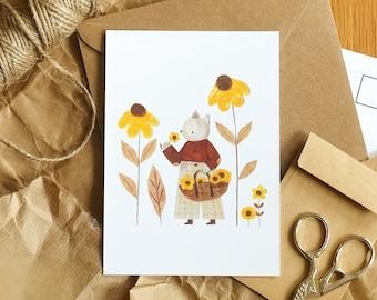 Flower Picker Cat Postcard, Animal, Summer, Cottagecore, Mini Print, Illustrated Wall Art, Small Gift, Greeting Card, A6 Postcard