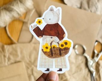 Flower Picker Cat Die Cut Vinyl Sticker, Cottagecore Animal Illustration, Stationery, Small Gift