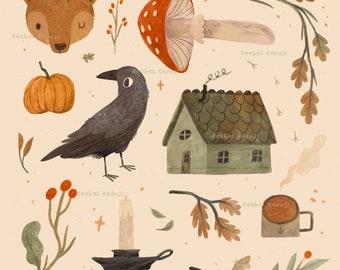 Autumn Treasures Art Print, Cosy Fall Wall Art, Fox, Raven, Crow, Bear, Cabin, Pumpkin, Mushroom, Halloween, Hygge Home Decor, A5, A4