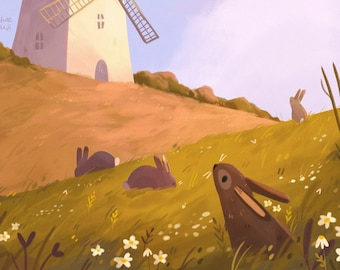 "Over the Hills Art Print, Rabbit Print, Windmill, Wildlife Illustration, Nature, Nursery Animal Art, Home Decor, 6x6"", 8x8"""