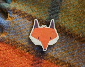 Fox Wooden Pin, Autumn Animal Wood Pin, Lapel Badge, Button, Cottagecore Brooch, Fall Accessory, Small Gift