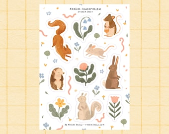 Spring Meadow A6 Sticker Sheet, Bullet Journal Stickers, Bujo stickers, Woodland Animals, Floral, Wildlife, Stationery, Small Gift