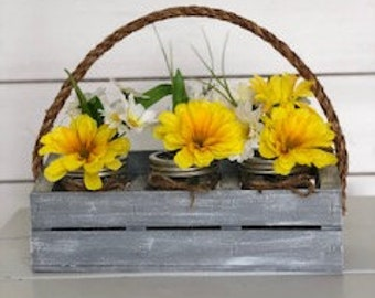 Tri-Divided Mason Jar Crate with Flowers