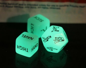 Naughty Dice Game Bachelor Party Gift 3 Piece Glows with velvet storage bag