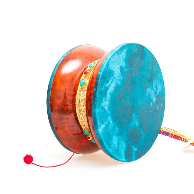Big Damaru made from Bawa wood Perfect Tibetan traditional drum for Chod  practice / Buddhist Religious music / Diameter — 20 cm