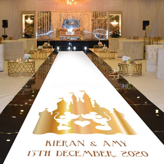 Personalised Wedding Aisle Runner Decoration - : Gold Effect Disney Castle