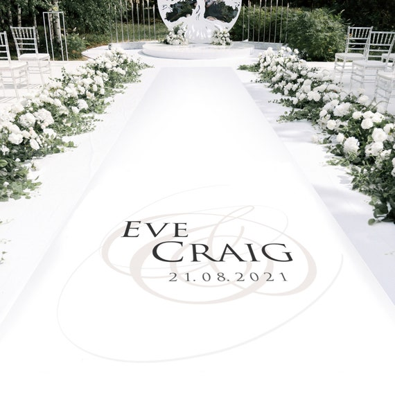 Personalised Aisle Carpet Sovereign initial design - Personalised Wedding Aisle Runners