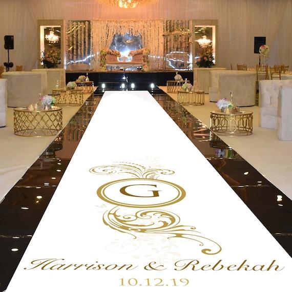 Personalise Wedding Aisle Runner Decoration -Gold Effect Flourish Plume Design