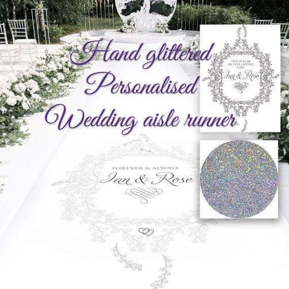Personalised Glitter Wedding Aisle Runner - Glitter Floral Frame
