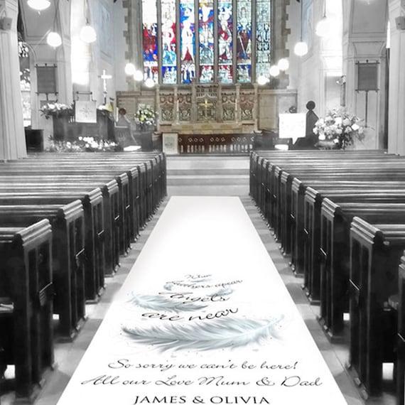 In Loving Memory Wedding Aisle Runner - Feather Personalised Wedding Aisle Runners