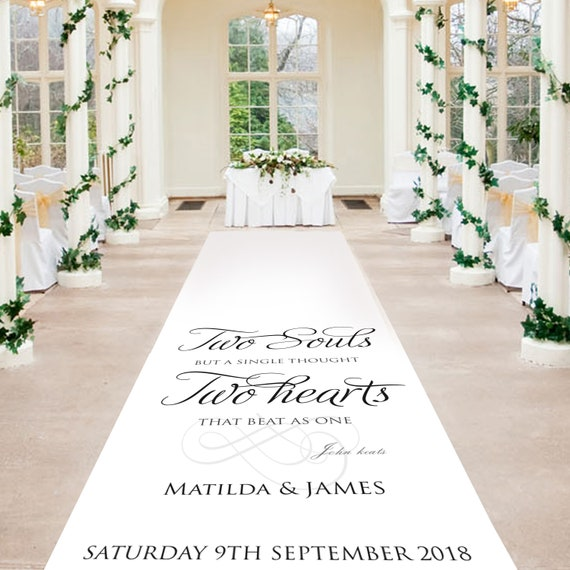 White Aisle Runner - Two Souls, Two Hearts -  Personalised Wedding Aisle Runners