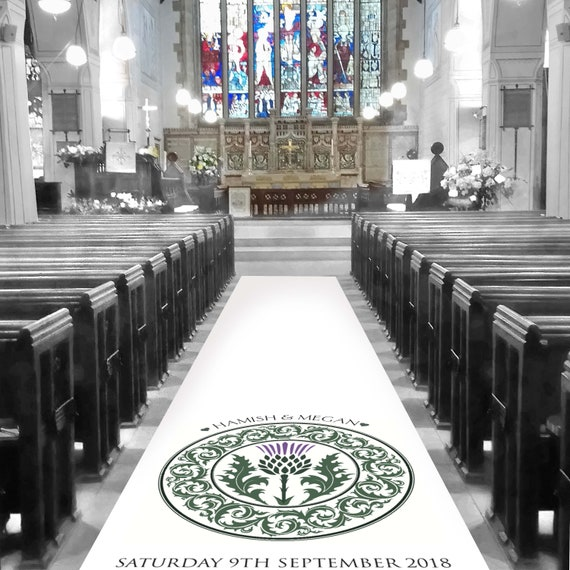 Purple Scottish Thistle Aisle Runner - Personalised Wedding Aisle Runners