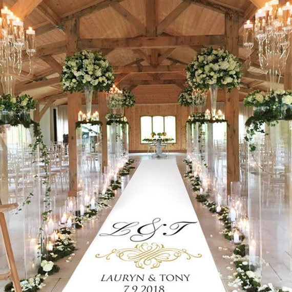 Personalised Wedding Aisle Decoration - Initial Scroll Gold Effect