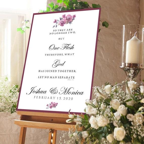 English rose wedding signage
