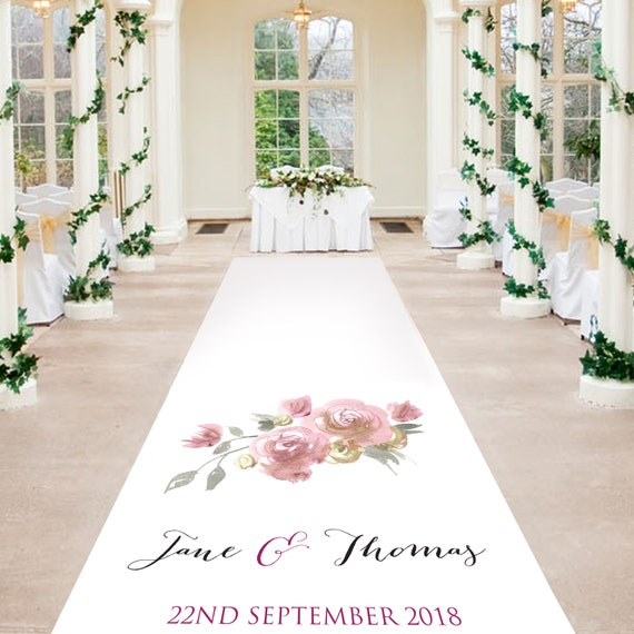 Rose Aisle Runner - Elegant Rose Design - Personalised Wedding Aisle Runners