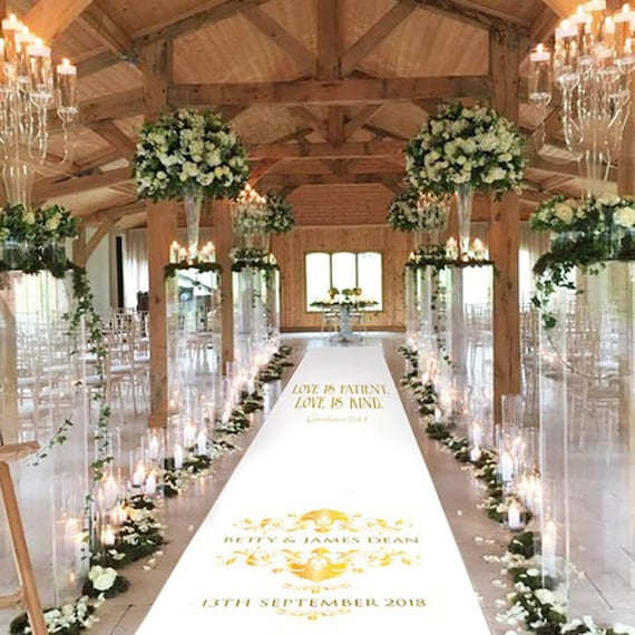 Personalised Gold Effect Damask Aisle Runner - Wedding