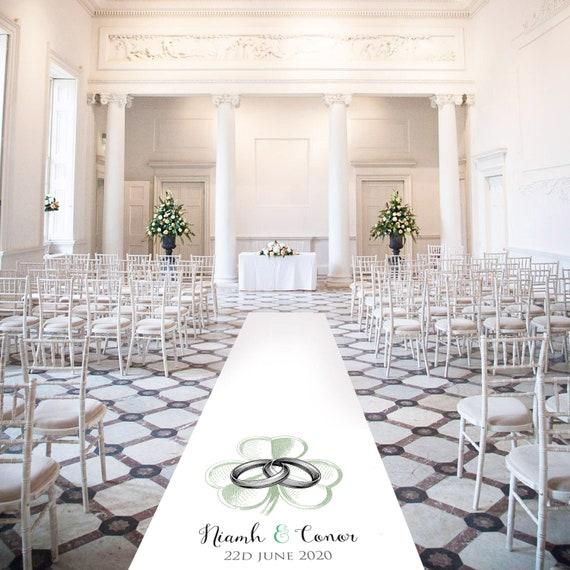 White Aisle Carpet - Irish themed -  Personalised Wedding Aisle Runners