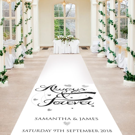 Black and White Aisle Runner - Always and Forever -  Personalised Wedding Aisle Runners