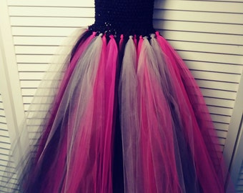 Pink,grey,and black tutu dress