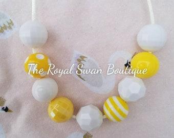 Baby Girl Banana Cream Pie Yellow & White Bubblegum Chunky Bead Necklace