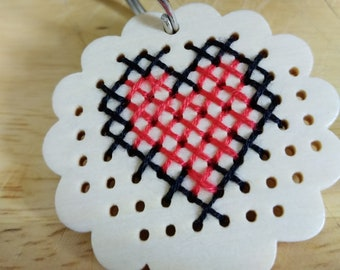 Cross stitch heart keyring.